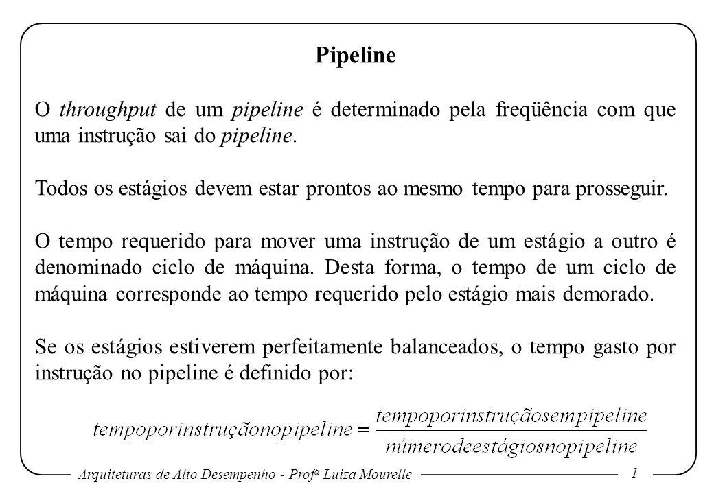 Pipeline O throughput de um pipeline é determinado pela freqüência com que uma instrução sai do pipeline.