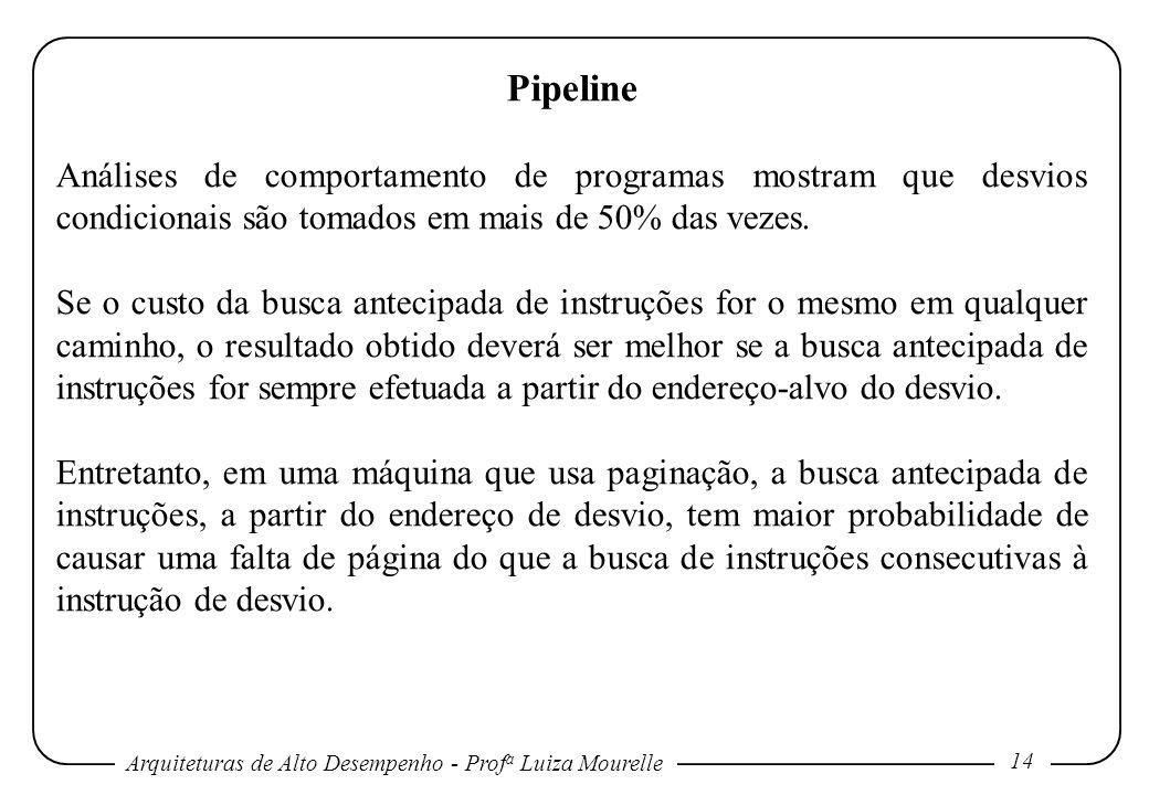Pipeline Análises de comportamento de programas mostram que desvios condicionais são tomados em mais de 50% das vezes.