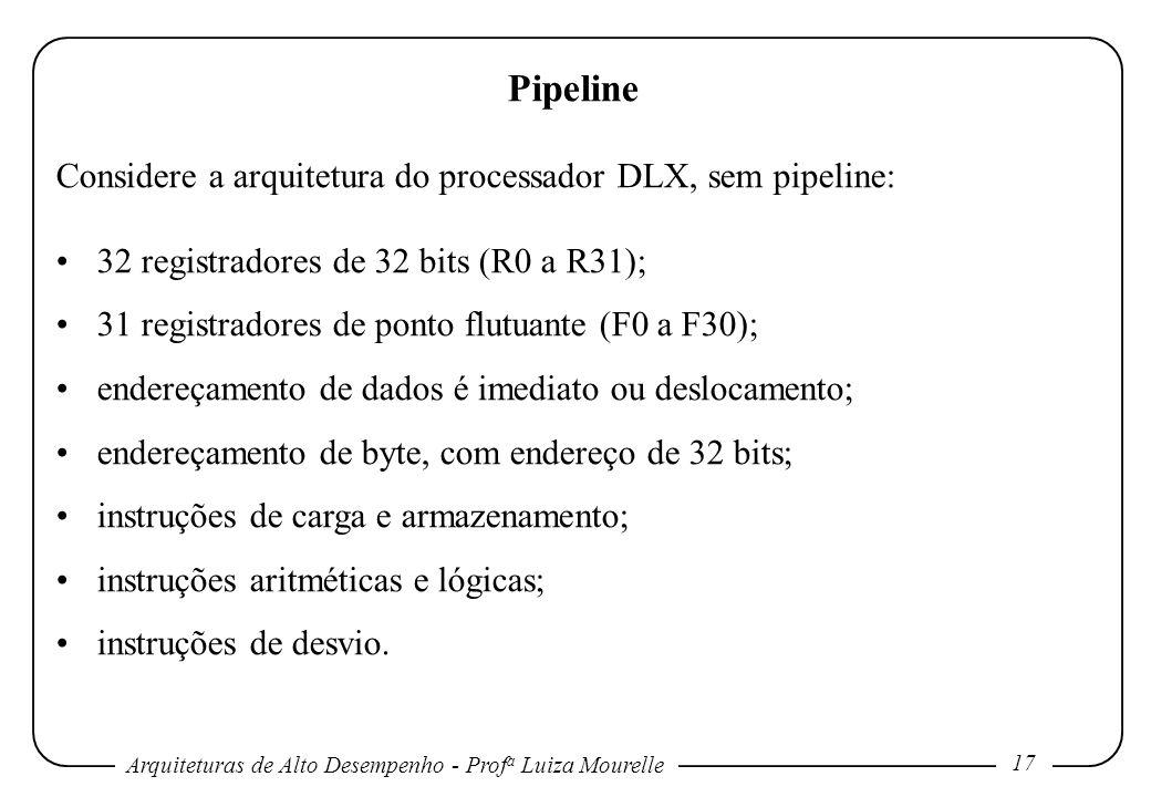 Pipeline Considere a arquitetura do processador DLX, sem pipeline: