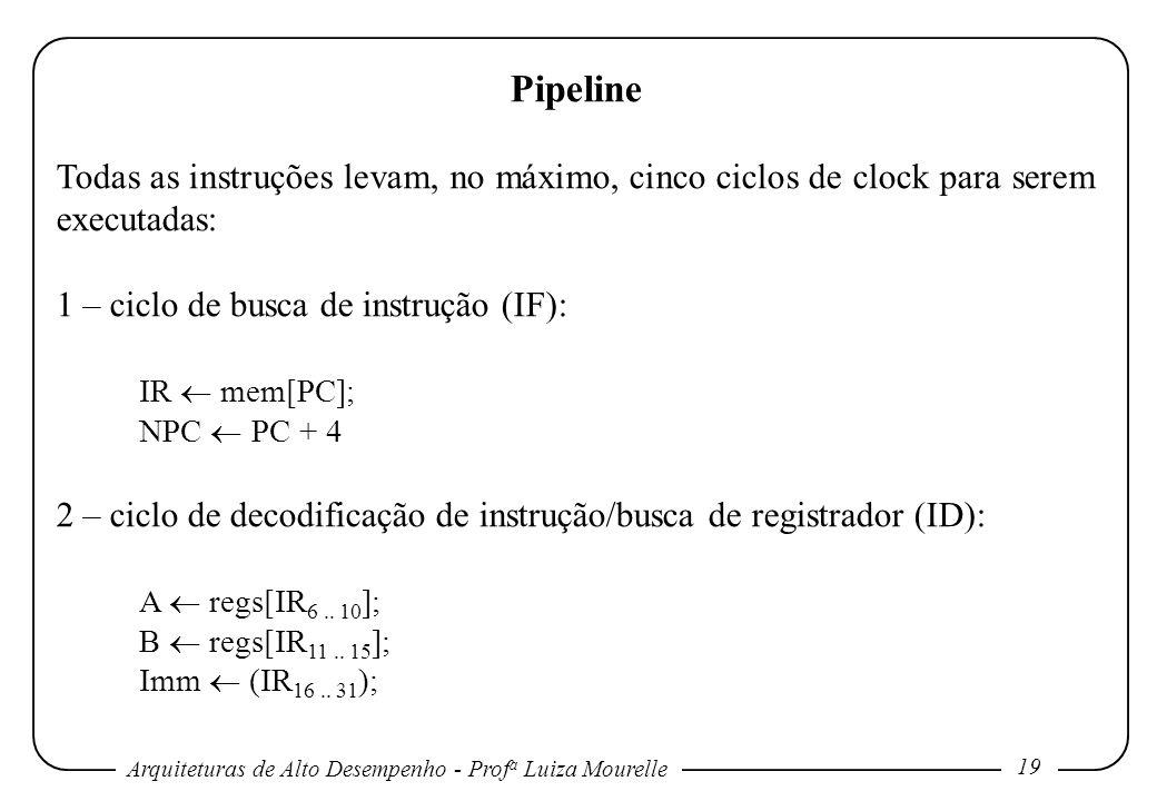 Pipeline Todas as instruções levam, no máximo, cinco ciclos de clock para serem executadas: 1 – ciclo de busca de instrução (IF):