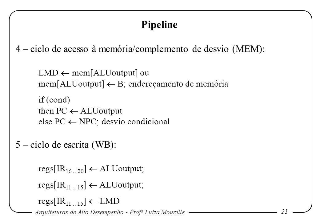 Pipeline 4 – ciclo de acesso à memória/complemento de desvio (MEM):