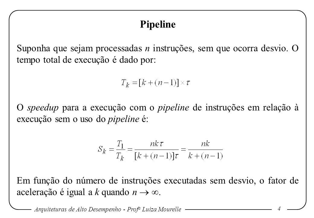 Pipeline Suponha que sejam processadas n instruções, sem que ocorra desvio. O tempo total de execução é dado por: