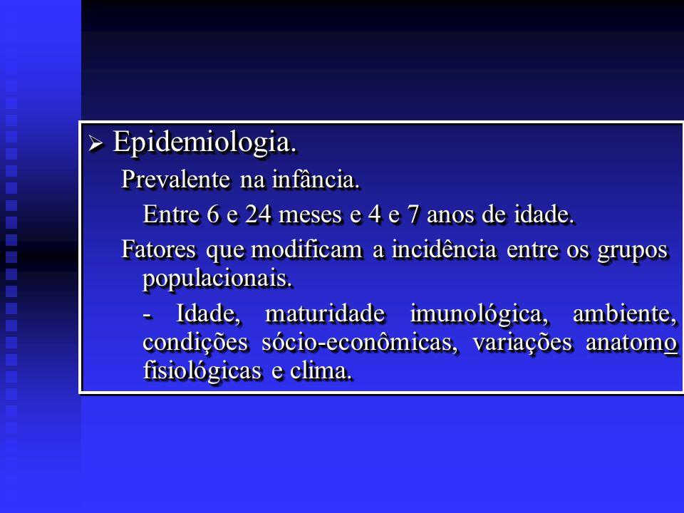 Epidemiologia. Prevalente na infância.