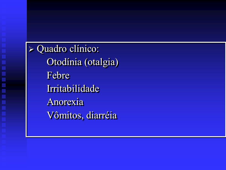 Quadro clínico: Otodínia (otalgia) Febre Irritabilidade Anorexia Vômitos, diarréia