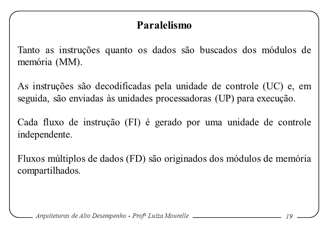 Paralelismo Tanto as instruções quanto os dados são buscados dos módulos de memória (MM).