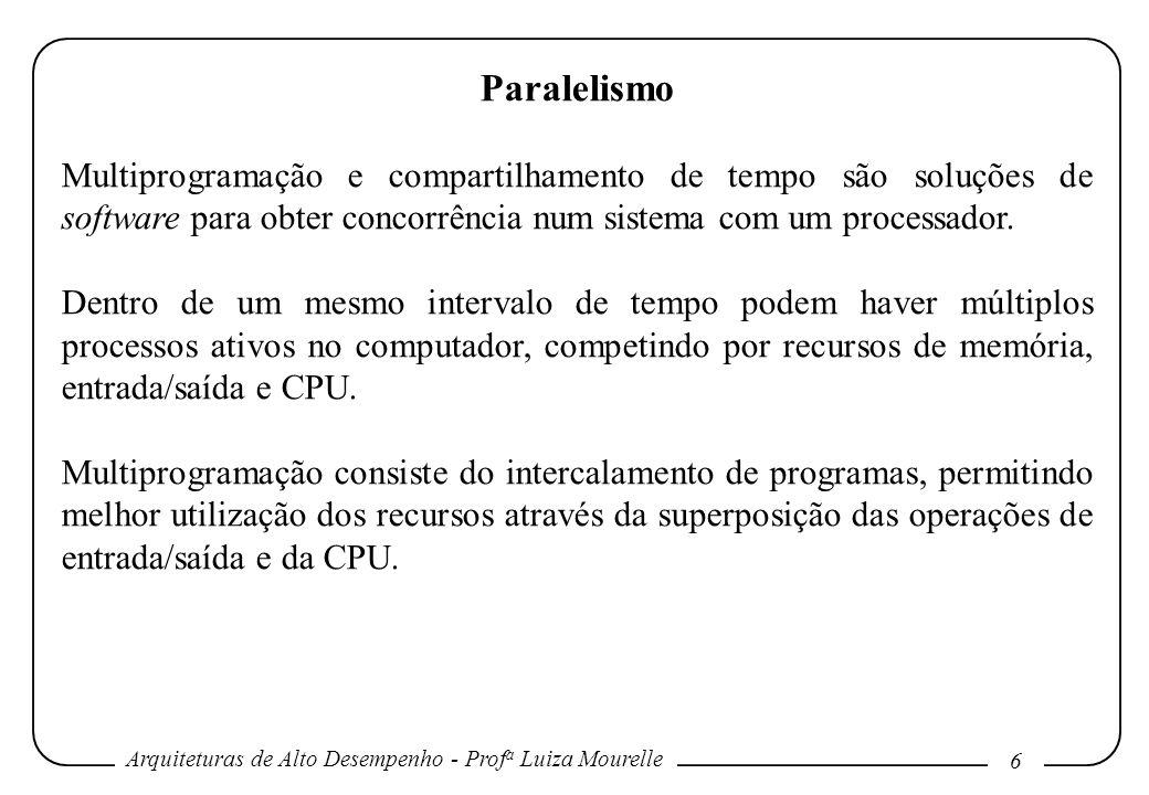 Paralelismo Multiprogramação e compartilhamento de tempo são soluções de software para obter concorrência num sistema com um processador.