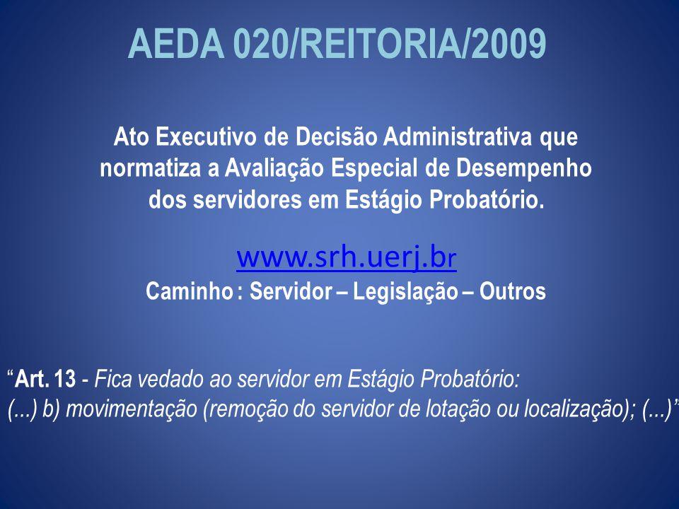 AEDA 020/REITORIA/2009 www.srh.uerj.br