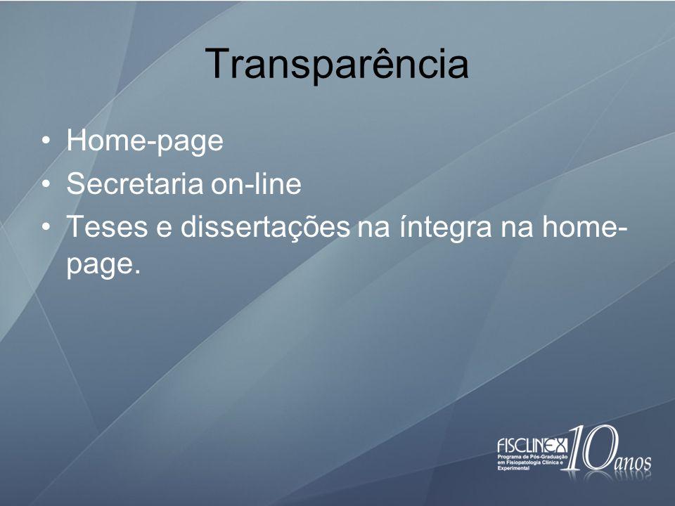 Transparência Home-page Secretaria on-line