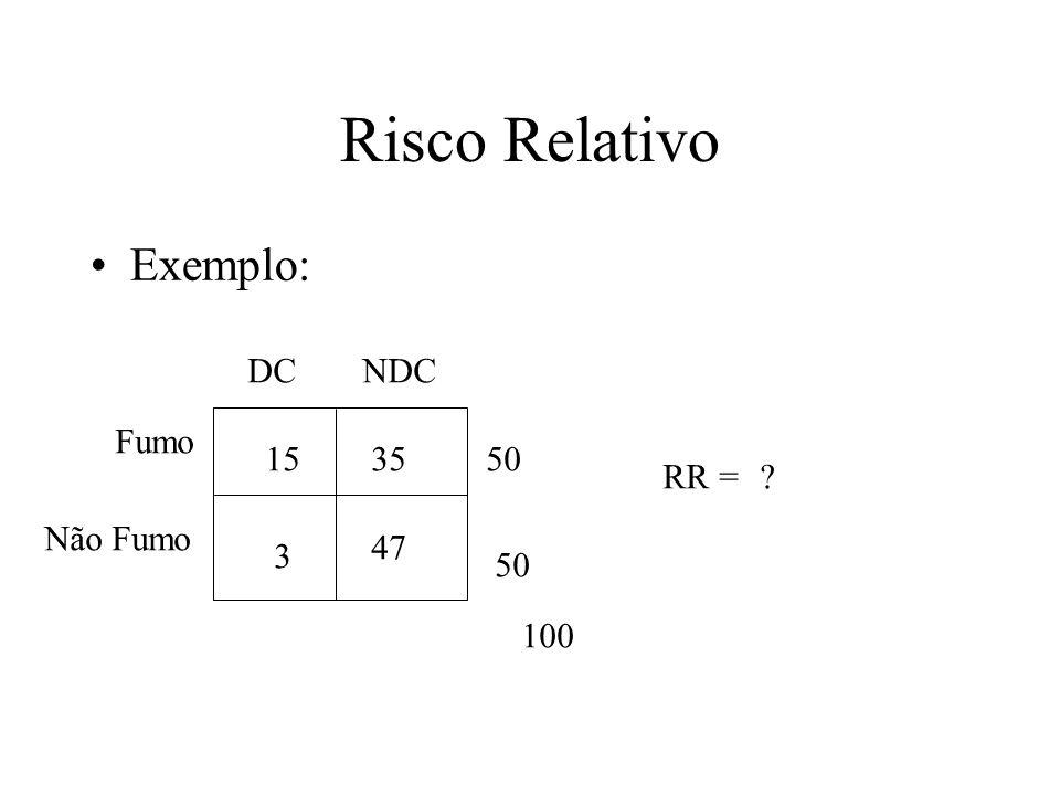 Risco Relativo Exemplo: DC NDC Fumo 15 35 50 RR = Não Fumo 47 3 50