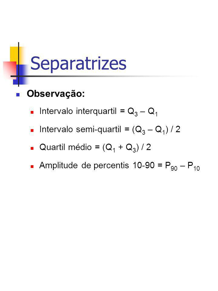 Separatrizes Observação: Intervalo interquartil = Q3 – Q1