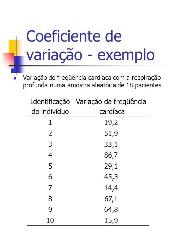 Coeficiente de variação - exemplo