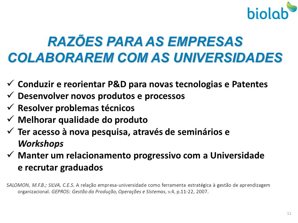 RAZÕES PARA AS EMPRESAS COLABORAREM COM AS UNIVERSIDADES