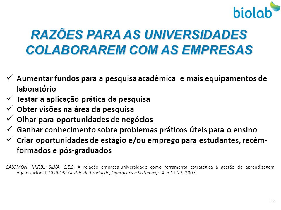 RAZÕES PARA AS UNIVERSIDADES COLABORAREM COM AS EMPRESAS