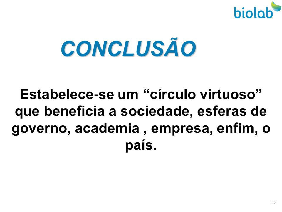 CONCLUSÃO Estabelece-se um círculo virtuoso que beneficia a sociedade, esferas de governo, academia , empresa, enfim, o país.