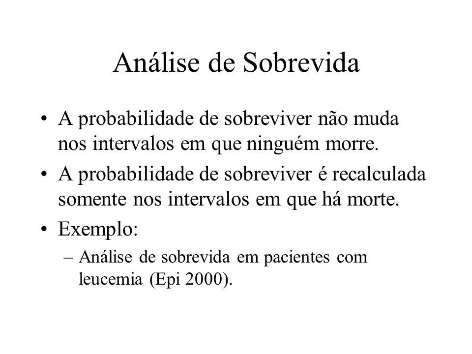 Análise de Sobrevida A probabilidade de sobreviver não muda nos intervalos em que ninguém morre.
