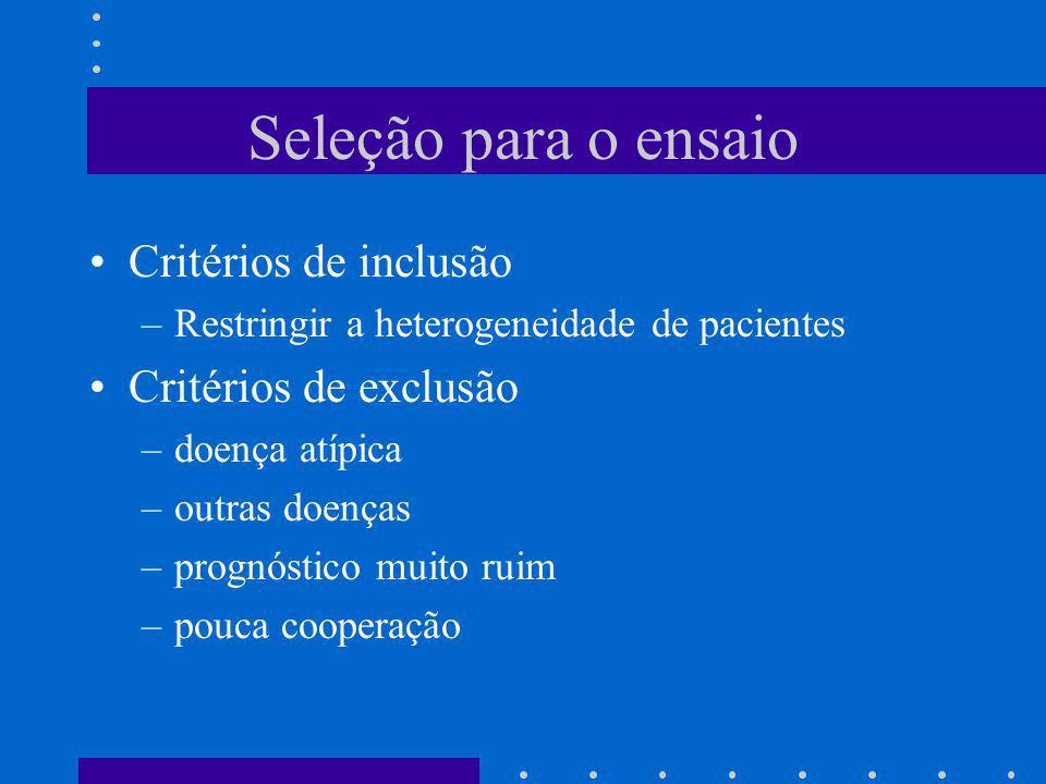 Seleção para o ensaio Critérios de inclusão Critérios de exclusão
