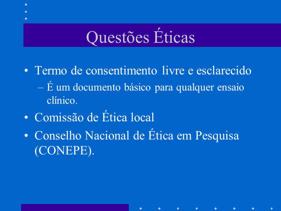 Questões Éticas Termo de consentimento livre e esclarecido
