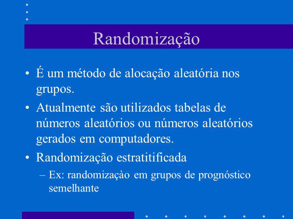 Randomização É um método de alocação aleatória nos grupos.