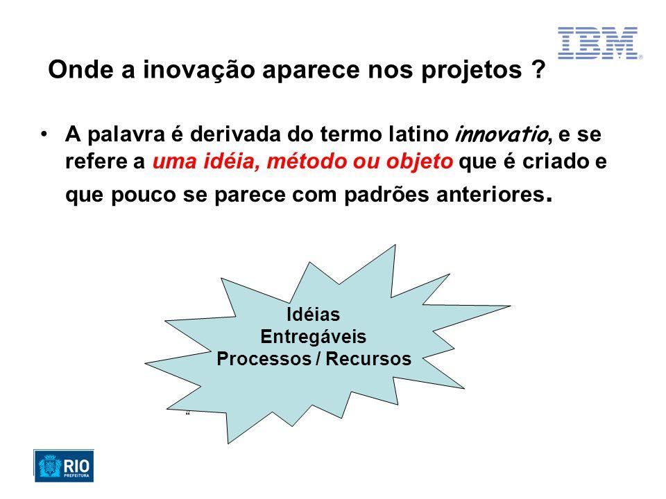 Onde a inovação aparece nos projetos