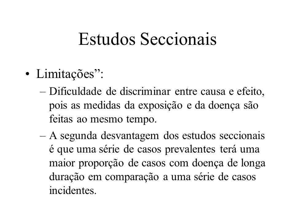 Estudos Seccionais Limitações :