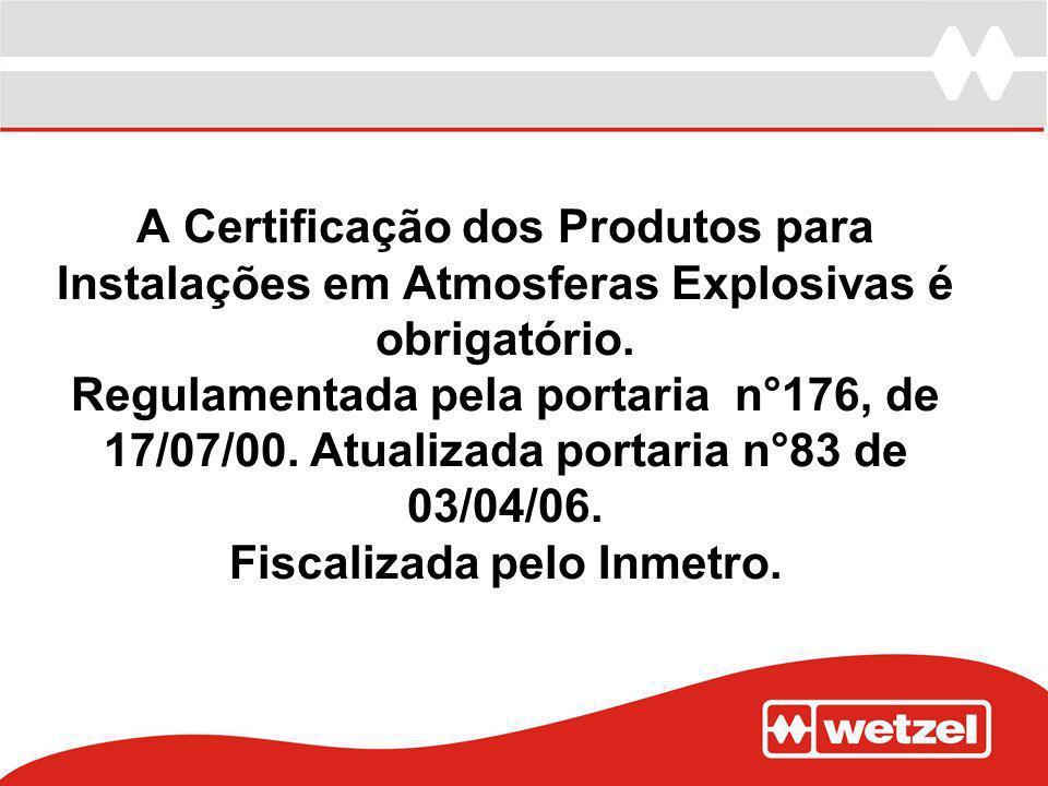 A Certificação dos Produtos para Instalações em Atmosferas Explosivas é obrigatório.