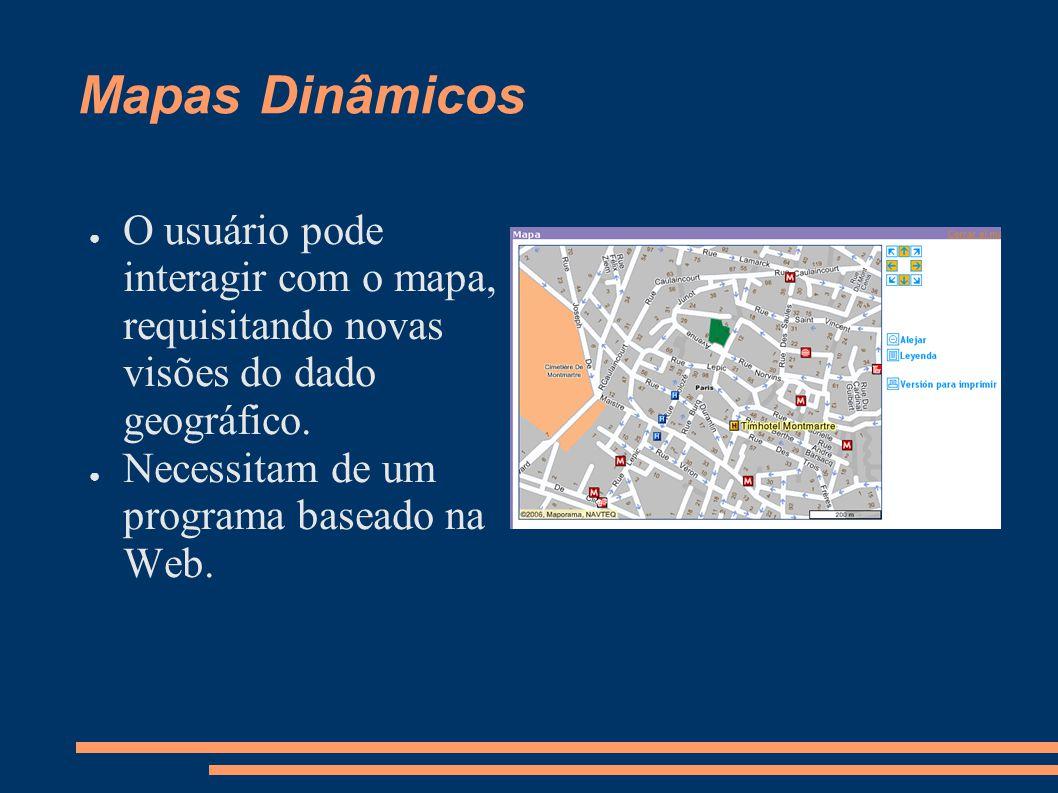 Mapas Dinâmicos O usuário pode interagir com o mapa, requisitando novas visões do dado geográfico.