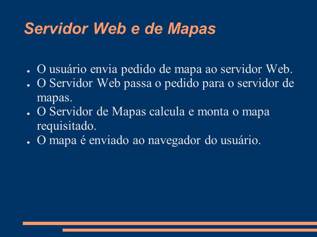 Servidor Web e de Mapas O usuário envia pedido de mapa ao servidor Web. O Servidor Web passa o pedido para o servidor de mapas.