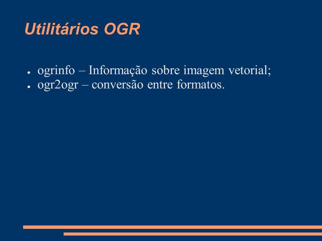Utilitários OGR ogrinfo – Informação sobre imagem vetorial;