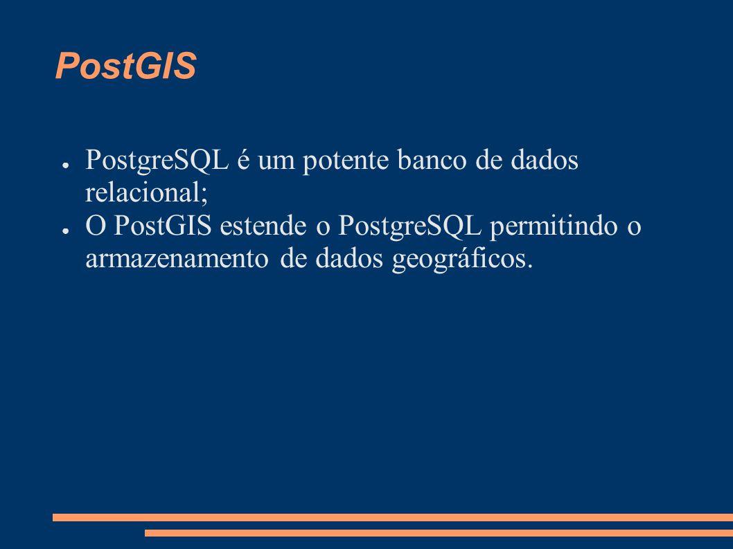 PostGIS PostgreSQL é um potente banco de dados relacional;