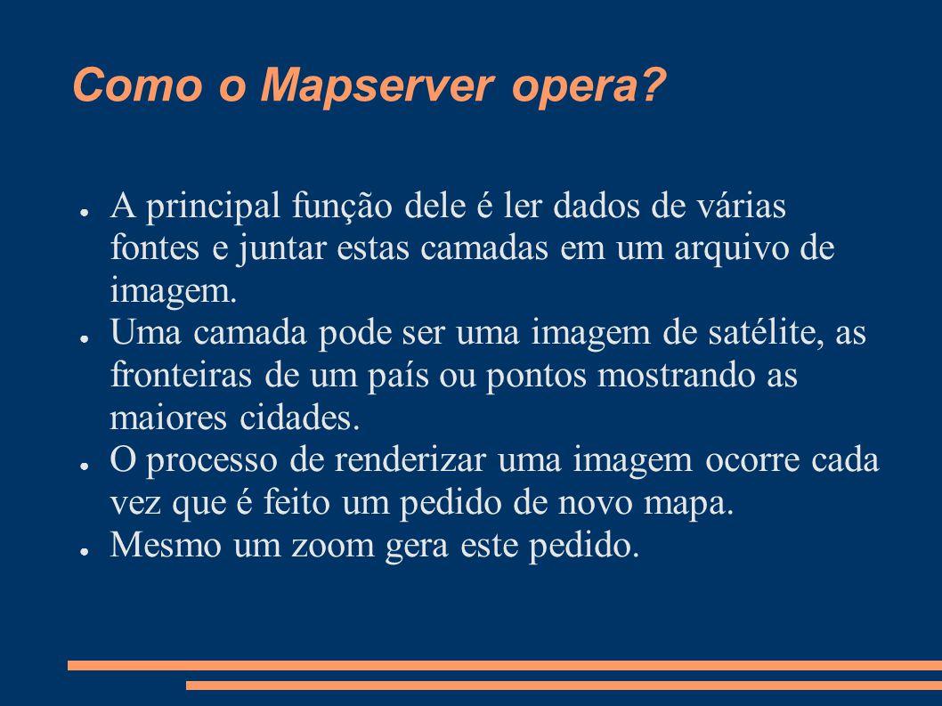 Como o Mapserver opera A principal função dele é ler dados de várias fontes e juntar estas camadas em um arquivo de imagem.