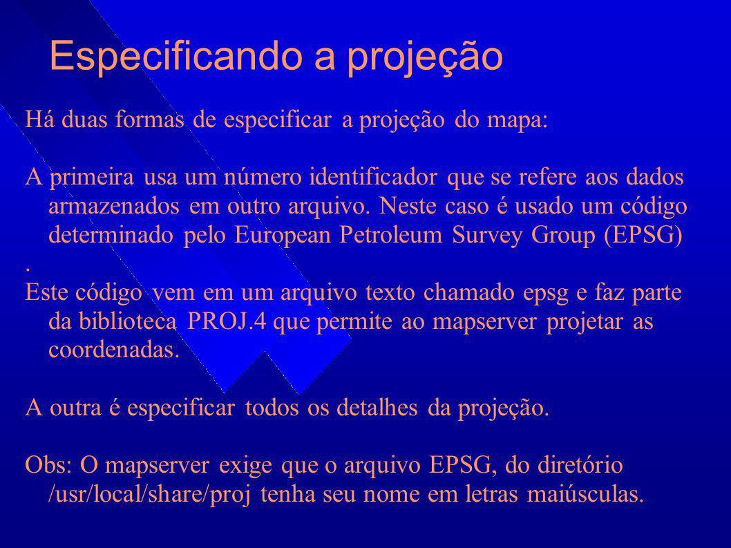 Especificando a projeção