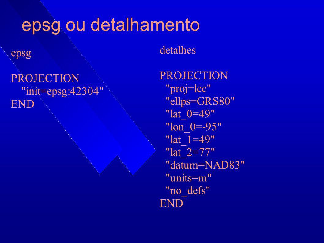 epsg ou detalhamento detalhes epsg PROJECTION