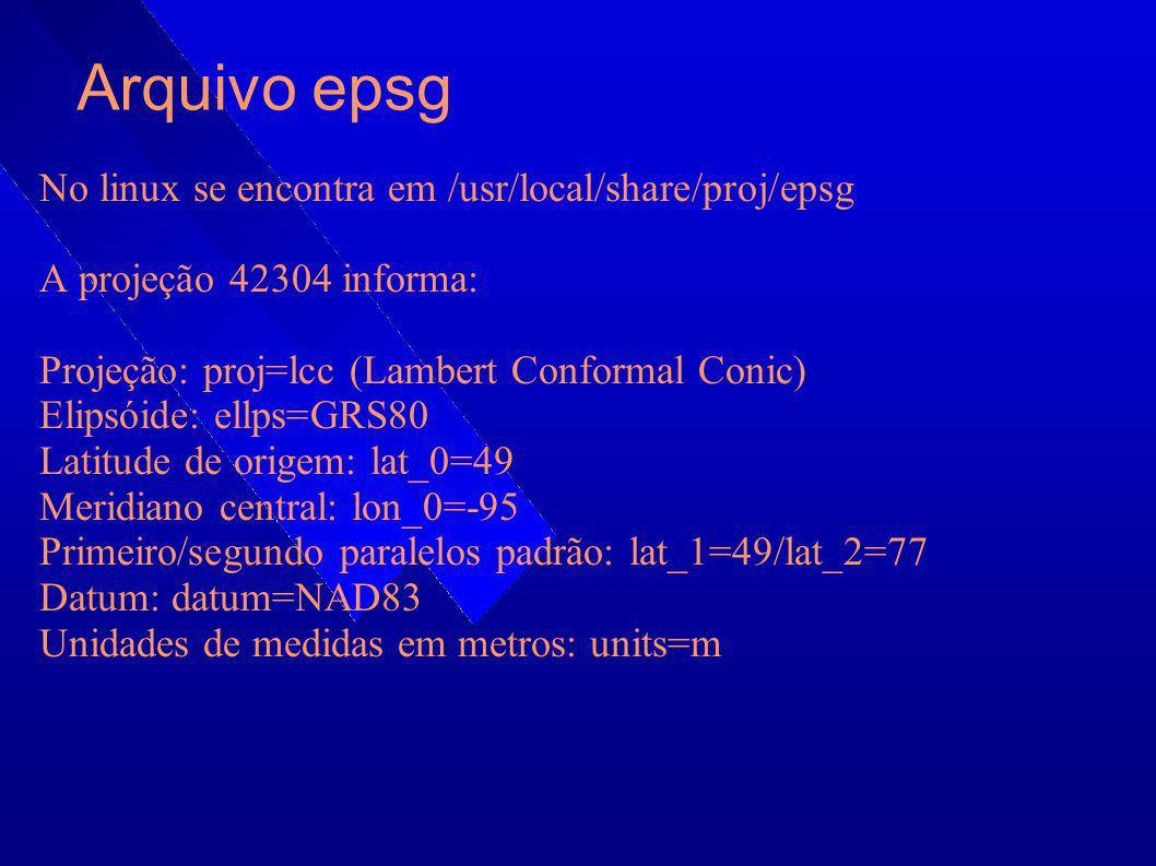 Arquivo epsg No linux se encontra em /usr/local/share/proj/epsg