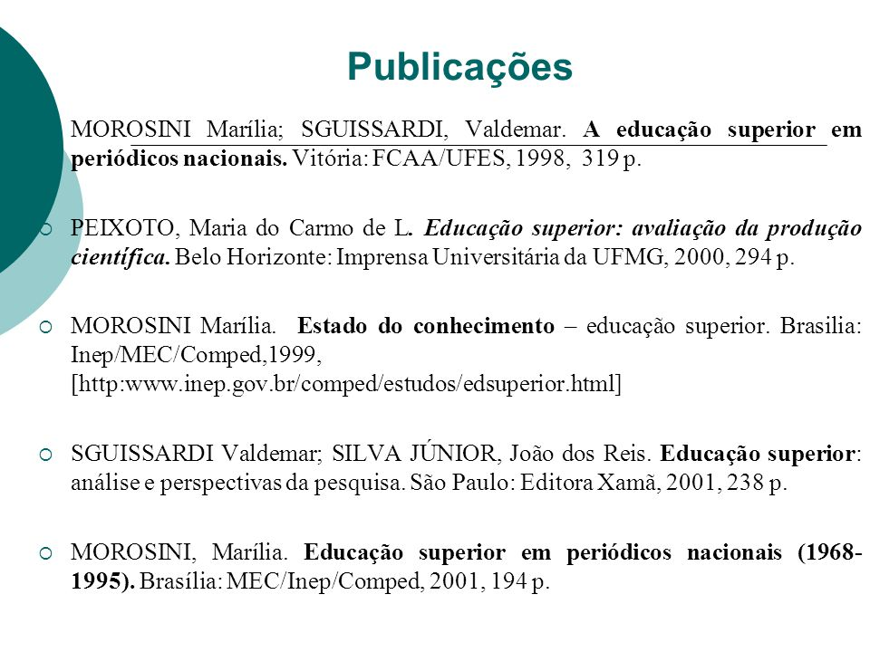 Publicações MOROSINI Marília; SGUISSARDI, Valdemar. A educação superior em periódicos nacionais. Vitória: FCAA/UFES, 1998, 319 p.