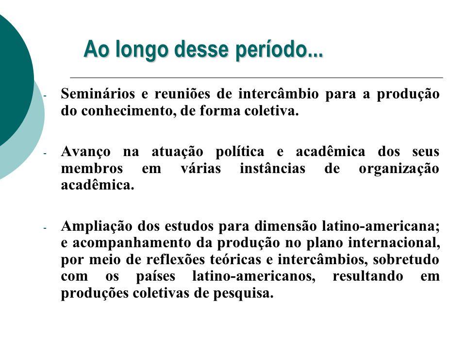 Ao longo desse período... Seminários e reuniões de intercâmbio para a produção do conhecimento, de forma coletiva.