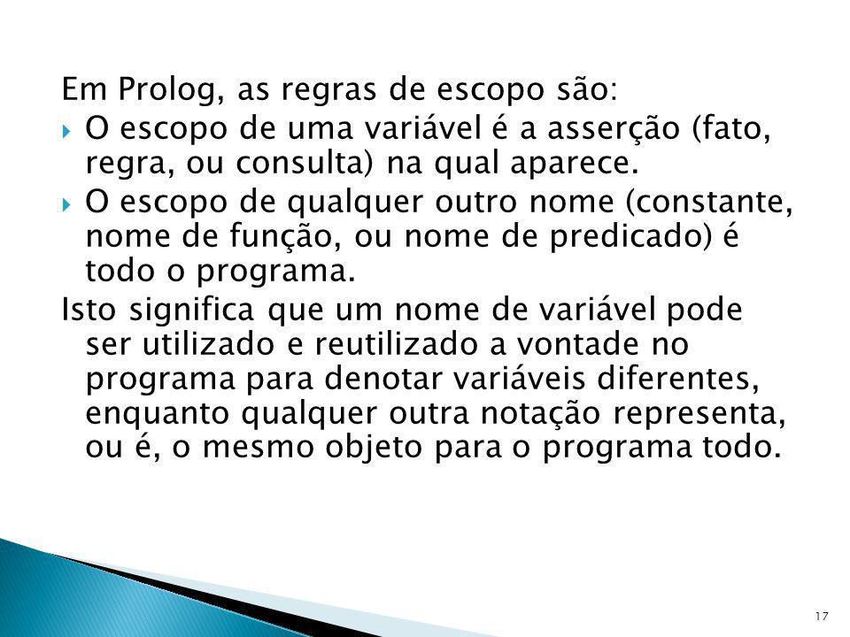 Em Prolog, as regras de escopo são: