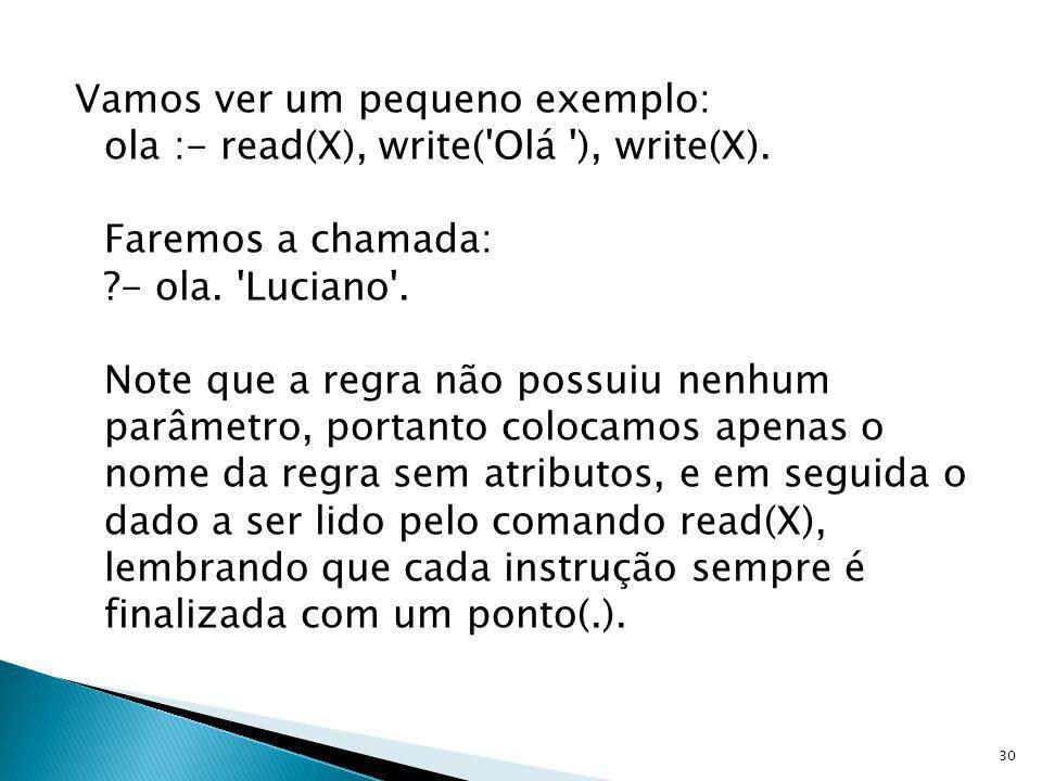 Vamos ver um pequeno exemplo: ola :- read(X), write( Olá ), write(X)