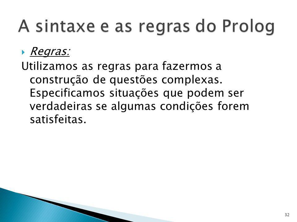 A sintaxe e as regras do Prolog