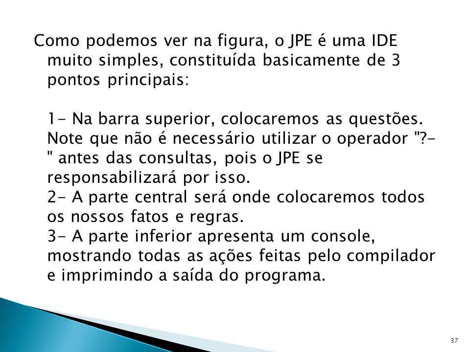 Como podemos ver na figura, o JPE é uma IDE muito simples, constituída basicamente de 3 pontos principais: 1- Na barra superior, colocaremos as questões.