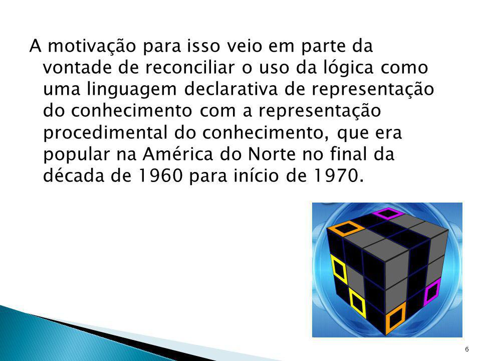 A motivação para isso veio em parte da vontade de reconciliar o uso da lógica como uma linguagem declarativa de representação do conhecimento com a representação procedimental do conhecimento, que era popular na América do Norte no final da década de 1960 para início de 1970.