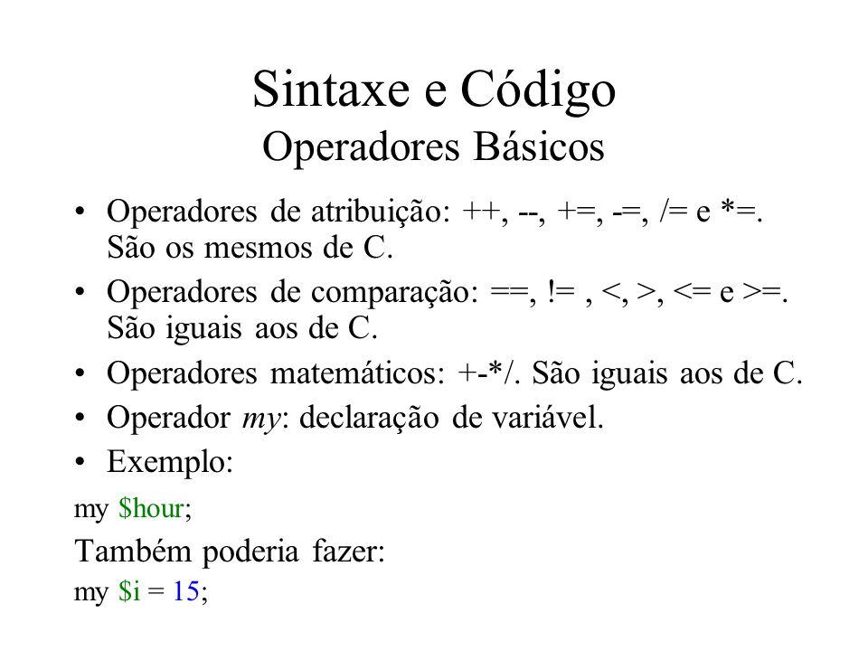 Sintaxe e Código Operadores Básicos