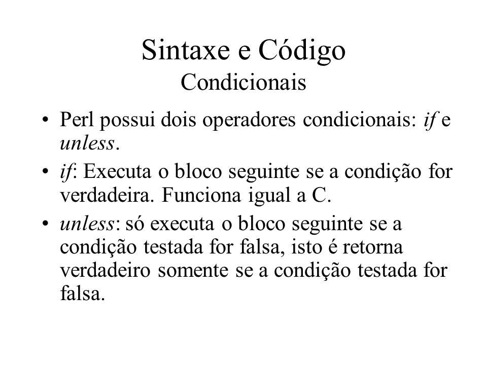 Sintaxe e Código Condicionais