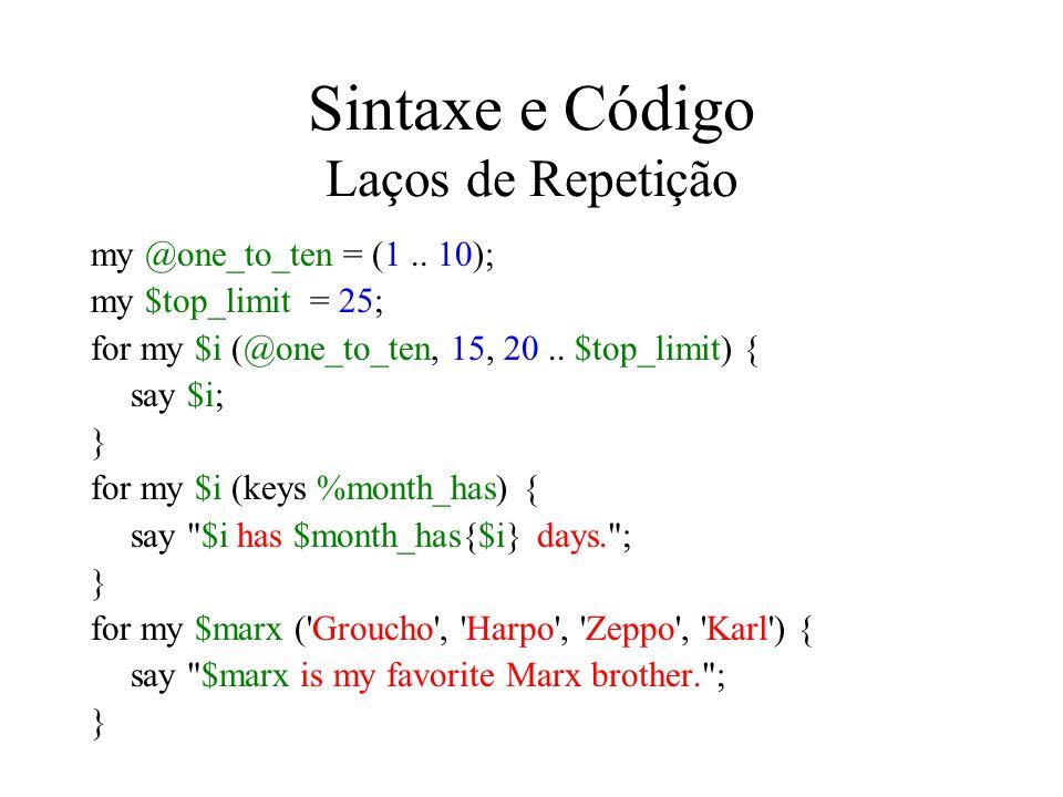 Sintaxe e Código Laços de Repetição