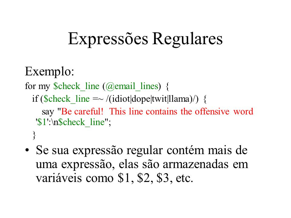 Expressões Regulares Exemplo: