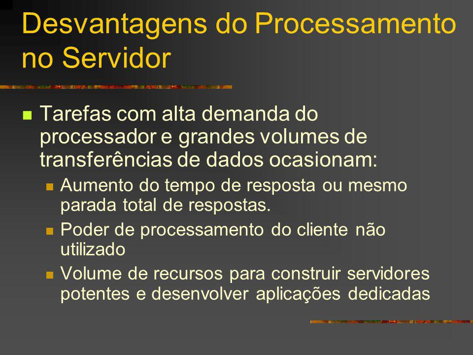 Desvantagens do Processamento no Servidor