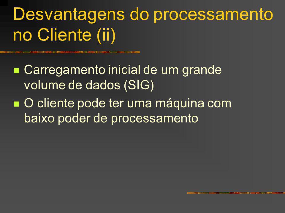 Desvantagens do processamento no Cliente (ii)