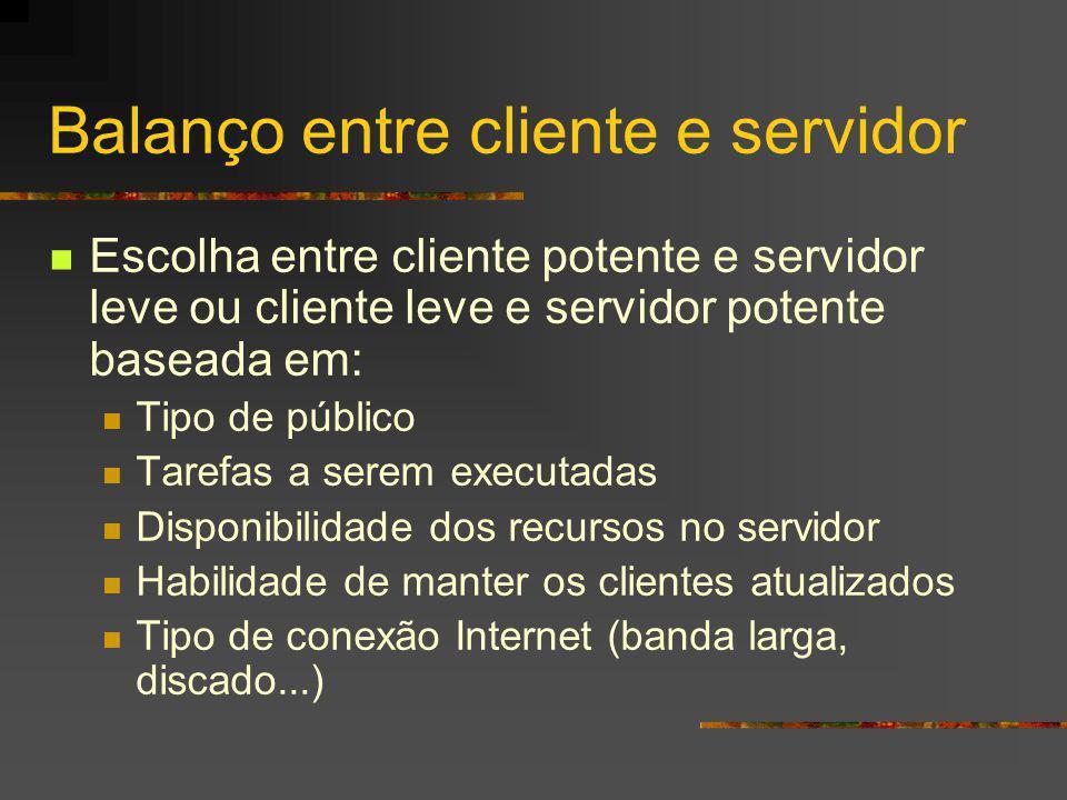 Balanço entre cliente e servidor