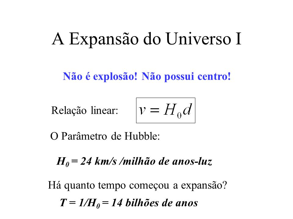 A Expansão do Universo I