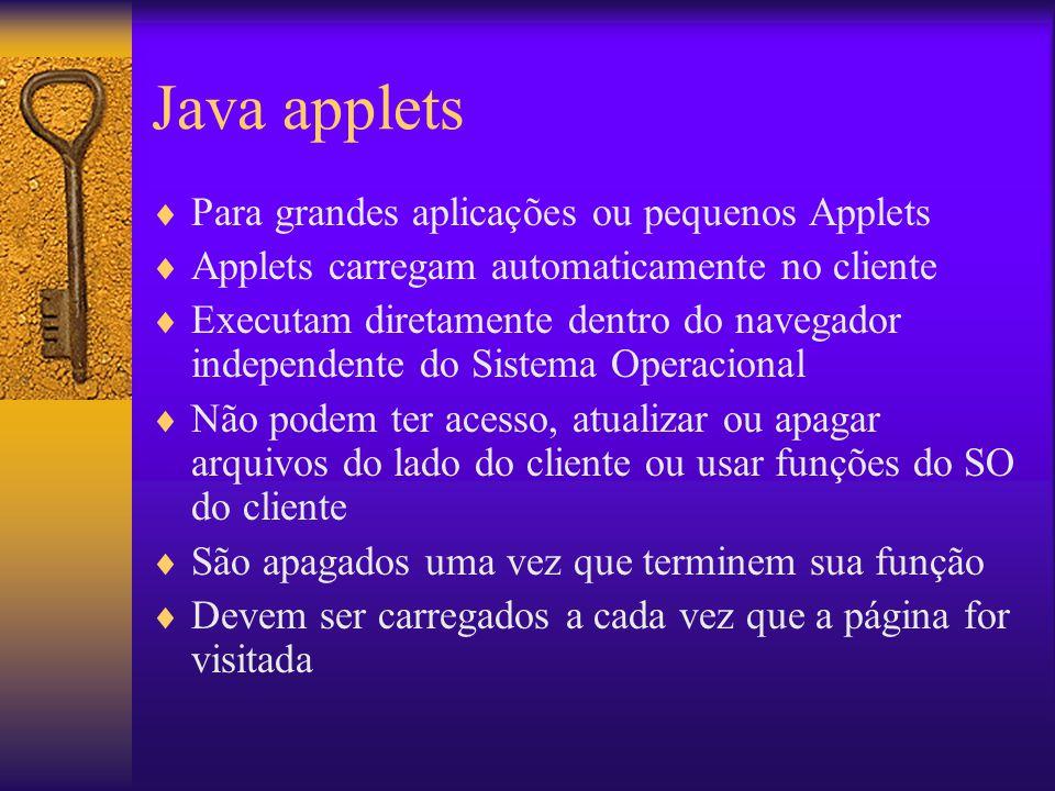 Java applets Para grandes aplicações ou pequenos Applets