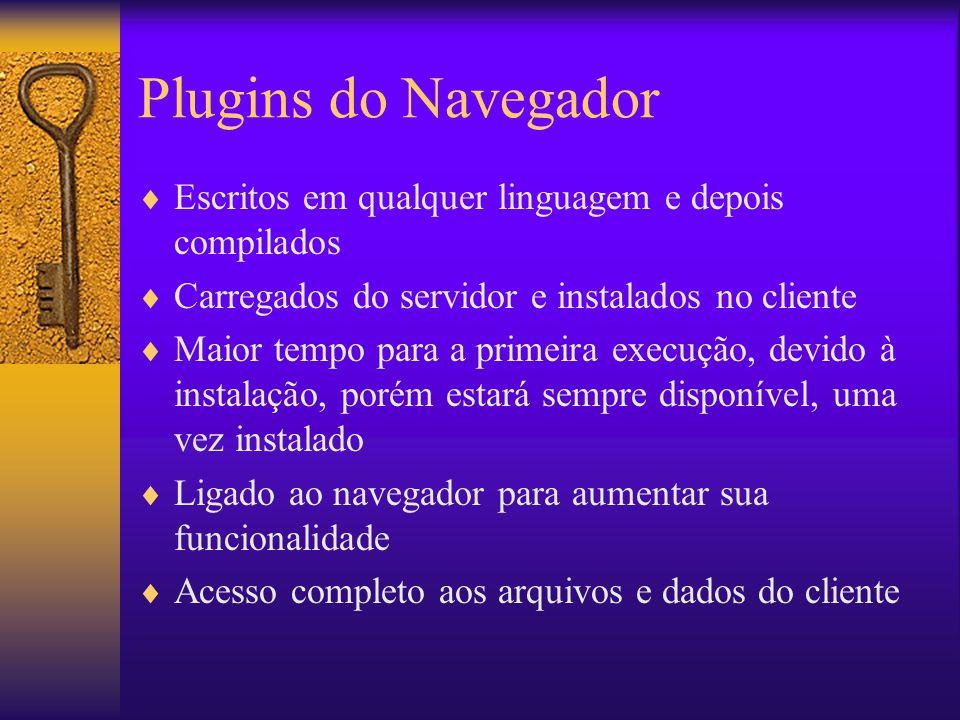 Plugins do Navegador Escritos em qualquer linguagem e depois compilados. Carregados do servidor e instalados no cliente.